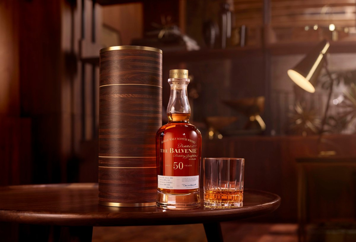 Balvenie 50 shown with glass and bottle