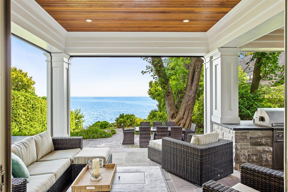 Lake views from this South Burlington Lakefront Home patio