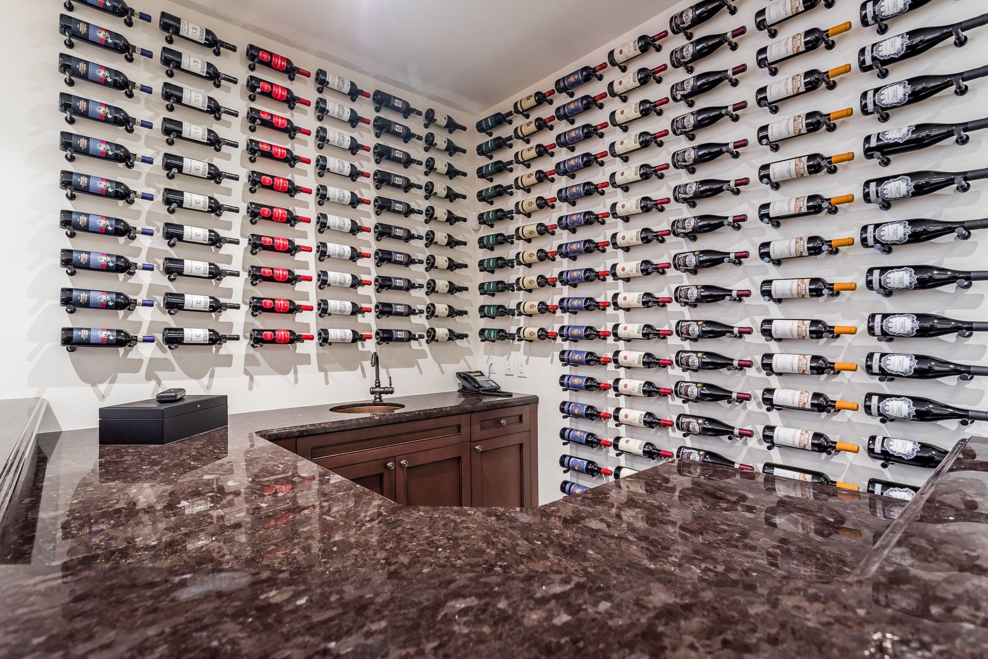 The wet bar and wine storage